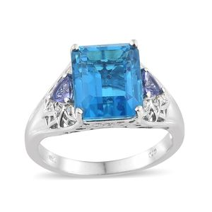 Caribbean Quartz, Multi Gemstone Platinum Over Sterling Silver Ring (Size 6.0) TGW 8.10 cts.