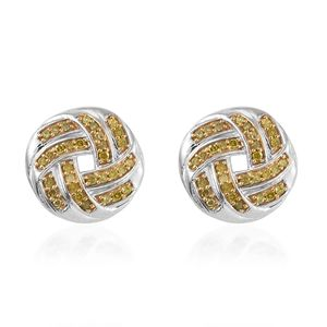 Yellow Diamond (IR) Yellow Rhodium and Platinum Over Sterling Silver Earrings TDiaWt 0.33 cts, TGW 0.33 cts.