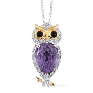 GP Lavender Alexite, Multi Gemstone 14K YG and Platinum Over Sterling Silver Owl Pendant With Chain (20 in) TGW 3.28 cts.