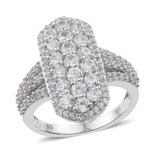 Natural White Zircon Platinum Over Sterling Silver Elongated Split Ring (Size 7.0) TGW 4.47 cts.