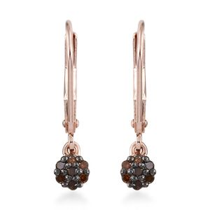 Red Diamond (IR) Black Rhodium & Vermeil RG Over Sterling Silver Lever Back Earrings TDiaWt 0.16 cts, TGW 0.16 cts.