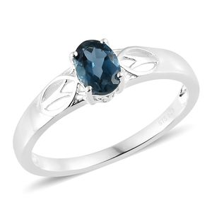 London Blue Topaz Sterling Silver Solitaire Ring (Size 6.0) TGW 0.90 cts.