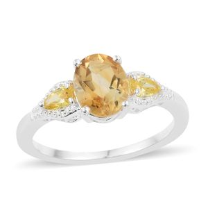 Brazilian Citrine, Simulated Yellow Diamond Sterling Silver Ring (Size 7.0) TGW 2.35 cts.