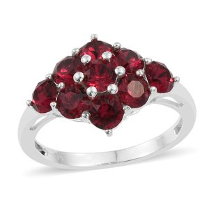 Sterling Silver Ring (Size 7.0) Made with SWAROVSKI Ruby Crystal TGW 2.36 cts.