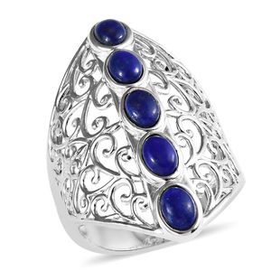 KARIS Collection - Lapis Lazuli Platinum Bond Brass 5 Stone Ring (Size 7.0) TGW 2.40 cts.