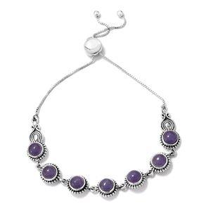 Artisan Crafted Burmese Purple Jade Sterling Silver Bracelet TGW 7.91 cts.