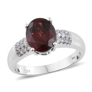 Mozambique Garnet, Cambodian Zircon Platinum Over Sterling Silver Ring (Size 7.0) TGW 4.15 cts.