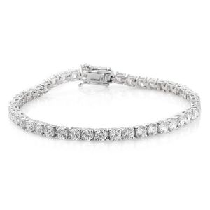 J Francis - Platinum Over Sterling Silver Bracelet (8.00 In) Made with SWAROVSKI ZIRCONIA TGW 21.00 cts.