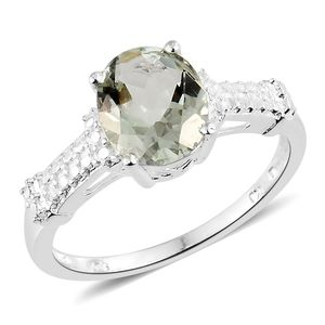Green Amethyst Sterling Silver Solitaire Ring (Size 8.0) TGW 2.40 cts.
