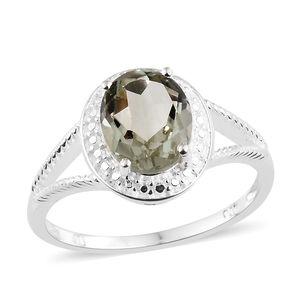 Green Amethyst Sterling Silver Split Shank Ring (Size 8.0) TGW 2.40 cts.