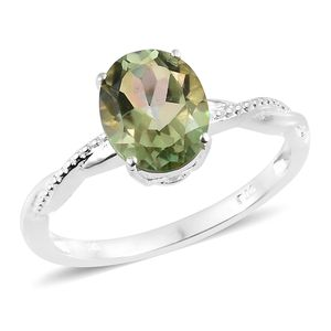 Enami Mystic Quartz Sterling Silver Solitaire Ring (Size 7.0) TGW 2.35 cts.