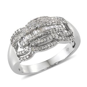 One Time Only Diamond Platinum Over Sterling Silver Ring (Size 7.0) TDiaWt 0.50 cts, TGW 0.50 cts.