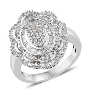 Diamond Platinum Over Sterling Silver Flower Ring (Size 6.0) TDiaWt 1.00 cts, TGW 1.00 cts.