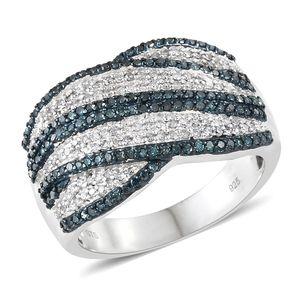 Diamond, Blue Diamond (IR) Blue Rodium & Platinum Over Sterling Silver Ring (Size 9.0) TDiaWt 1.00 cts, TGW 1.00 cts.