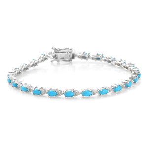 Dan's Collector Deal Arizona Sleeping Beauty Turquoise, Cambodian Zircon Platinum Over Sterling Silver Bracelet (8.00 In) TGW 5.70 cts.