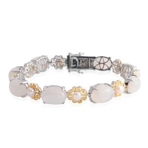 Rainbow Moonstone, Freshwater Pearl 14K YG Over and Sterling Silver Bracelet (9.00 In) TGW 45.50 cts.