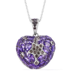 Simulated Amethyst Diamond, Hematite Color Austrian Crystal Stainless Steel Heart Pendant With Chain (20 in) TGW 17.00 cts.
