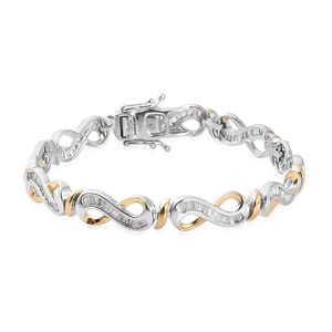 One Time Only Diamond 14K YG and Platinum Over Sterling Silver Bracelet (7.25 In) TDiaWt 2.00 cts, TGW 2.00 cts.