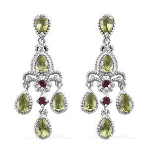 Hebei Peridot, Orissa Rhodolite Garnet Platinum Over Sterling Silver Chandelier Earrings TGW 4.42 cts.