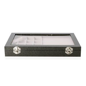 Black Leatherette Paper Vine Pattern Jewelry Box with Transparent Acrylic Window and Lock (11.4x7.3x1.6 in)
