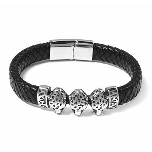 For Halloween Genuine Leather & Black Oxidized Stainless Steel Leopards Bracelet (8.50 In)
