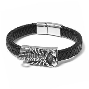 For Halloween Genuine Leather & Black Oxidized Stainless Steel Scorpion Bracelet (8.50 In)