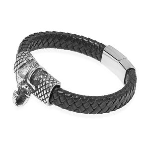For Halloween Genuine Leather & Black Oxidized Stainless Steel Elephant Bracelet (8.50 In)