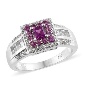 Purple Garnet, White Topaz Platinum Over Sterling Silver Ring (Size 7.0) TGW 1.97 cts.