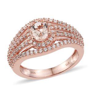 Marropino Morganite, Cambodian Zircon Vermeil RG Over Sterling Silver Split Ring (Size 6.0) TGW 2.20 cts.