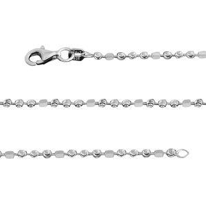 Sterling Silver Diamond Cut Bead Chain (18 in)