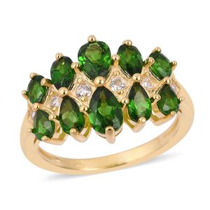 Russian Diopside, White Zircon 14K YG Over Sterling Silver Ring (Size 6.0) TGW 2.76 cts.