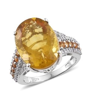 Canary Fluorite, Multi Gemstone Platinum Over Sterling Silver Cocktail Ring (Size 5.0) TGW 20.51 cts.