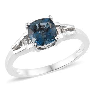 London Blue Topaz, White Topaz Platinum Over Sterling Silver Ring (Size 5.0) TGW 2.10 cts.