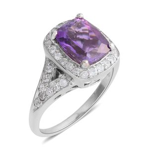 Moroccan Amethyst, Natural White Zircon Platinum Over Sterling Silver Ring (Size 7.0) TGW 4.32 cts.