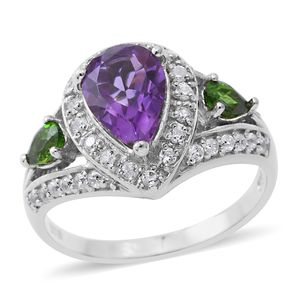 Rose De Maroc Amethyst, Multi Gemstone Platinum Over Sterling Silver Ring (Size 7.0) TGW 3.22 cts.