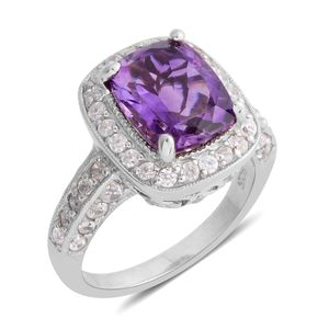 Moroccan Amethyst, Natural White Zircon Platinum Over Sterling Silver Ring (Size 11.0) TGW 4.51 cts.