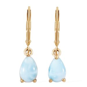 Larimar Vermeil YG Over Sterling Silver Lever Back Earrings TGW 2.90 cts.