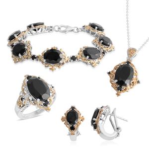 Thai Black Spinel 14K YG and Platinum Over Sterling Silver Bracelet (6.50 in), Earrings, Ring (Size 7) and Pendant With Chain (20.00 In) TGW 45.08 cts.