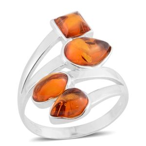 Baltic Amber Sterling Silver Bypass Ring (Size 7.0)