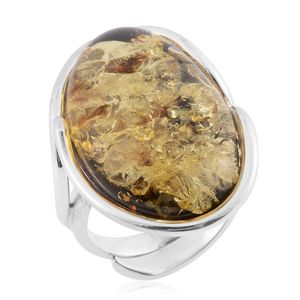 Artisan Crafted Mayan Green Amber Sterling Silver Ring (Size 7.0)