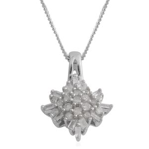 Diamond Platinum Over Sterling Silver Pendant With Chain (18 in) TDiaWt 0.25 cts, TGW 0.25 cts.