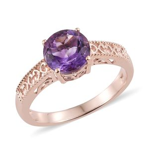 Rose De Maroc Amethyst Vermeil RG Over Sterling Silver Solitaire Ring (Size 10.0) TGW 2.70 cts.