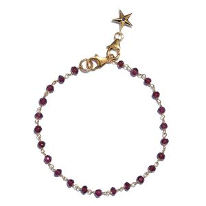 GP Mozambique Garnet, Madagascar Blue Sapphire 14K YG Over Sterling Silver Star Charm Bracelet (7.25 In) TGW 6.83 cts.