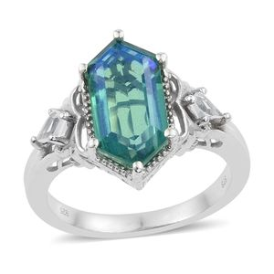 Peacock Quartz, White Topaz Platinum Over Sterling Silver Ring (Size 8.0) TGW 7.52 cts.