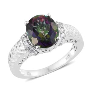 Customer Appreciation Day Northern Lights Mystic Topaz, Cambodian Zircon Platinum Over Sterling Silver Ring (Size 8.0) TGW 6.06 cts.