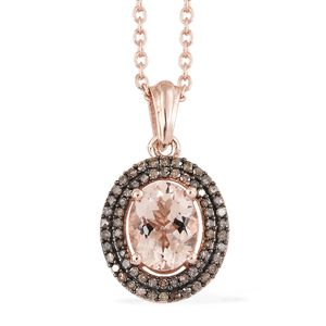 TLV Marropino Morganite, Natural Champagne Diamond Vermeil RG Over Sterling Silver Double Halo Pendant With Chain (20 in) TDiaWt 0.33 cts, TGW 2.00 cts.