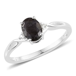 Natural Silver Sapphire, Cambodian Zircon Sterling Silver Ring (Size 7.0) TGW 1.67 cts.