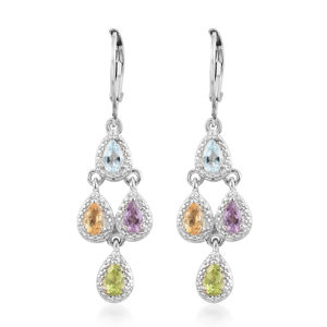 KARIS Collection - Brazilian Citrine, Multi Gemstone Platinum Bond Brass & Stainless Steel Lever Back Earrings TGW 1.84 cts.