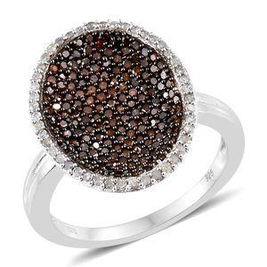 Red Diamond (IR), Diamond Black Rhodium & Platinum Over Sterling Silver Ring (Size 6.0) TDiaWt 1.00 cts, TGW 1.00 cts.