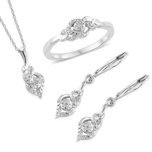 Diamond Platinum Over Sterling Silver Earrings, Ring (Size 7) and Pendant With Chain (20 in) TDiaWt 0.10 cts, TGW 0.10 cts.